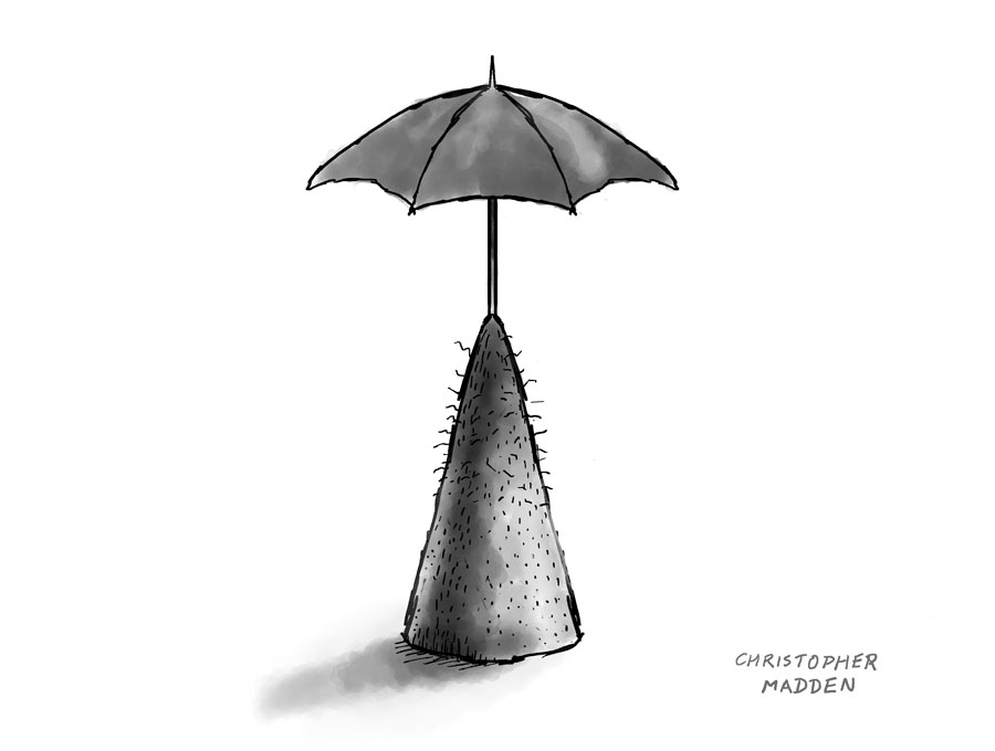 contemporary art drawing - umbrella sculpture sketch