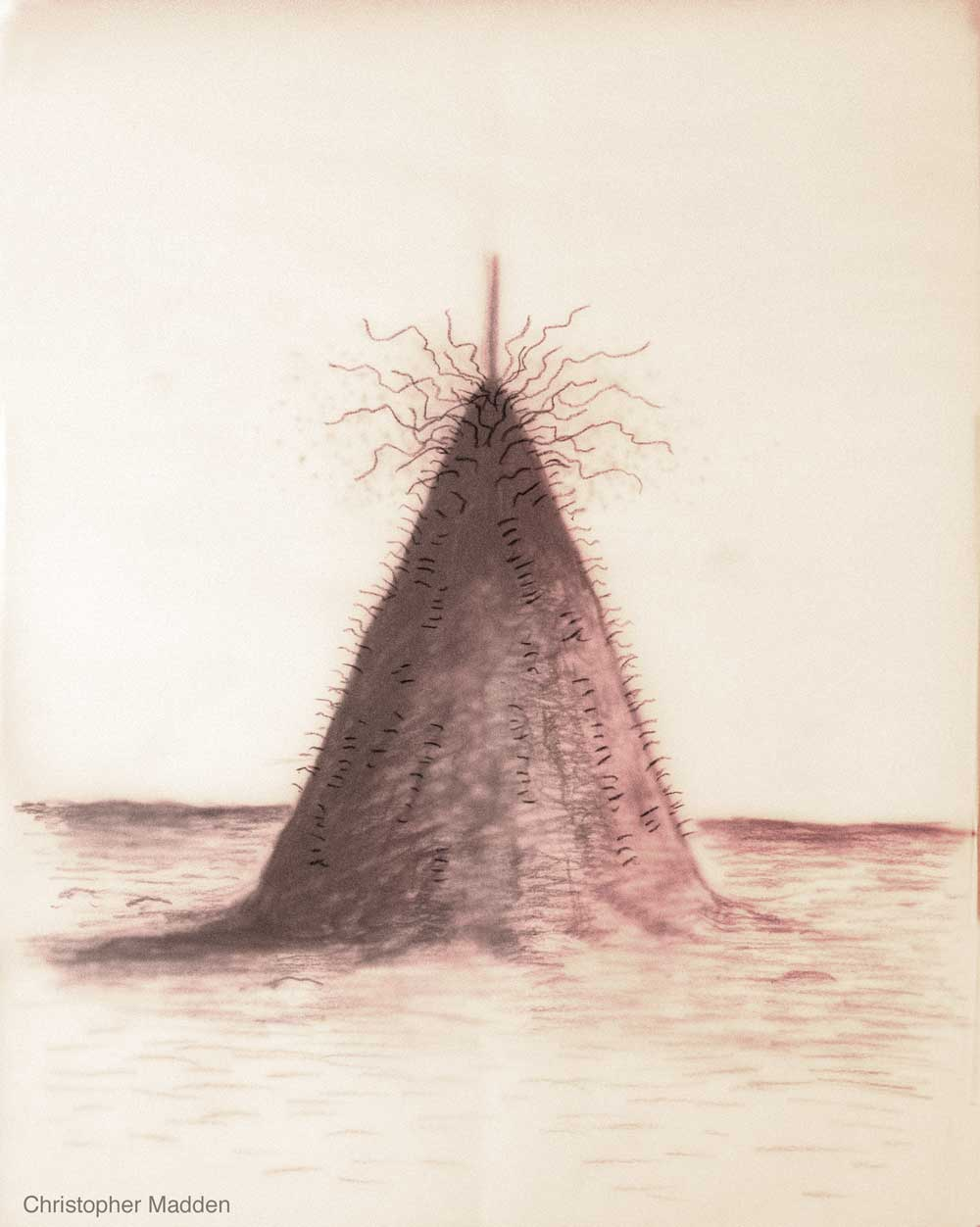 contemporary art drawing - cone - geometric form in landscape