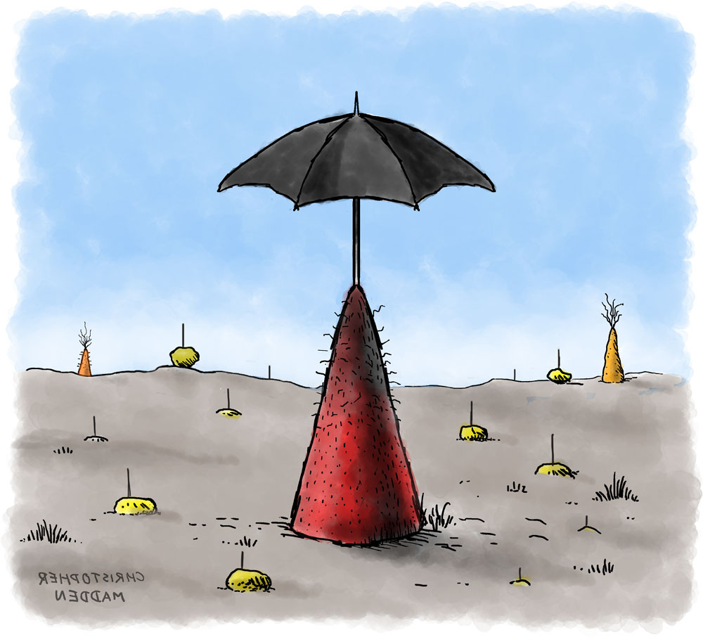 contemporary art drawing - surreal umbrella