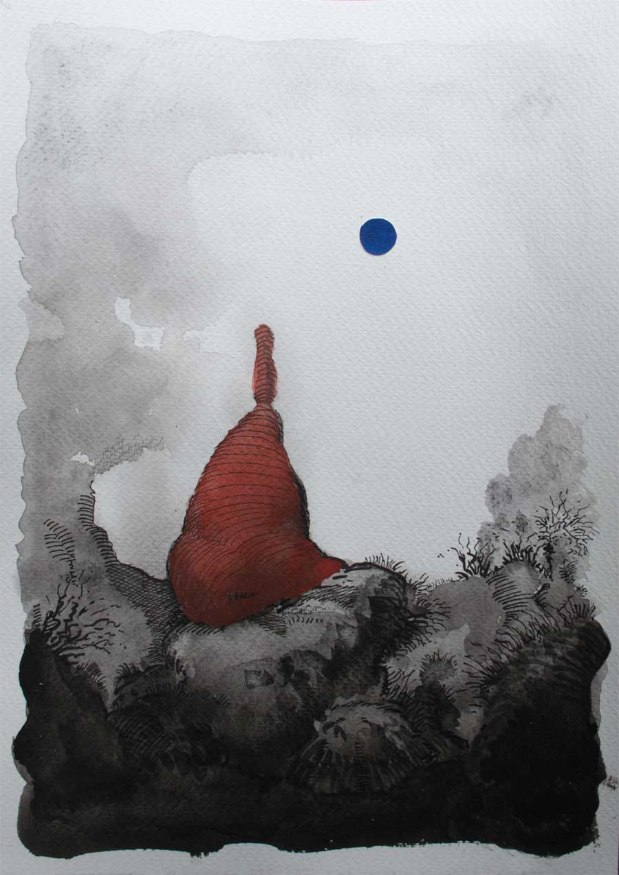 Contemporary art watercolour sketch - spontaneous painting from the unconscious