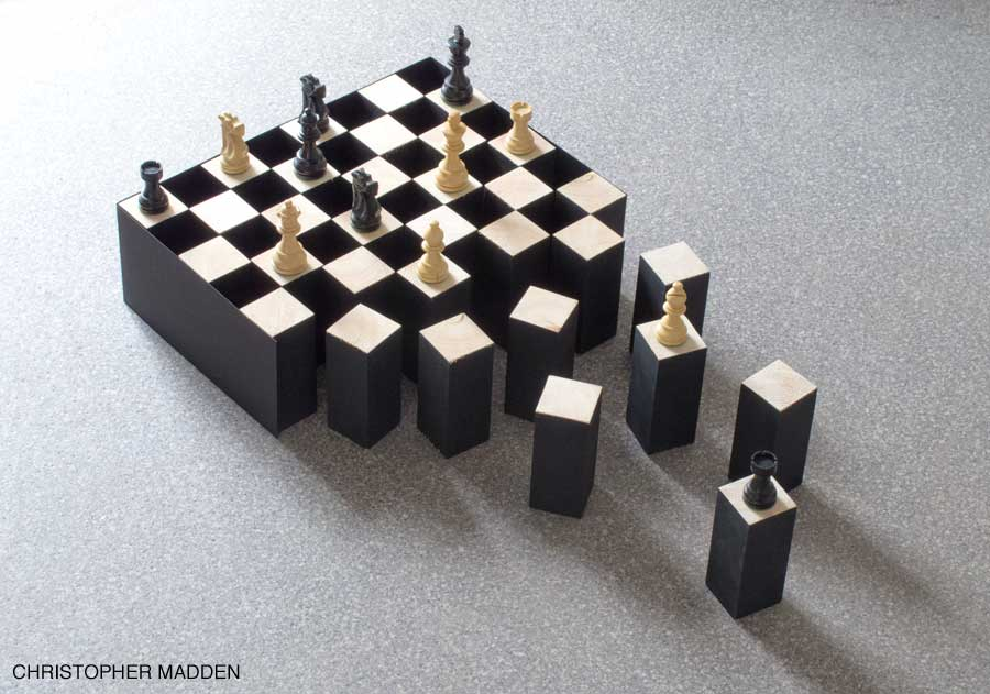 contemporary art sculpture - disintegrating chess board with illusion of black squares